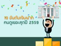10 อันดับ เงินฝากคนดูเยอะสุด ปี 2559