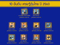 10 อันดับ เศรษฐีหุ้นไทย ปี 2560