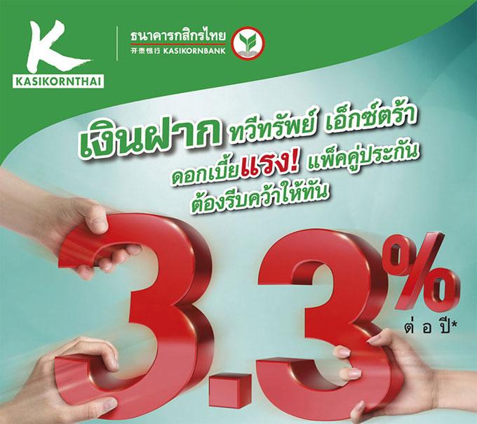 เงินฝากทวีทรัพย์ เอ็กซ์ตร้า ดอกเบี้ยแรง!! แพ็คคู่ประกัน 3.3% ต่อปี รับเต็มๆ  ไม่เสียภาษี จาก ธ.กสิกรไทย