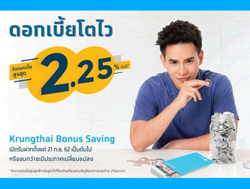 ใหม่!! บัญชีเงินฝาก Krungthai Bonus Savings