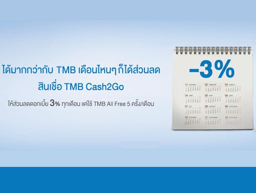 สินเชื่อ TMB Cash2Go ให้ส่วนลดดอกเบี้ย 3%