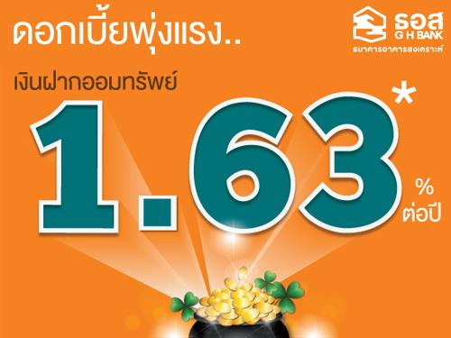 บัญชีเงินฝากออมทรัพย์ 1.63% ต่อปี