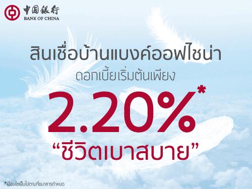 สินเชื่อบ้านแบงค์ออฟไชน่า เริ่มต้น 2.20%