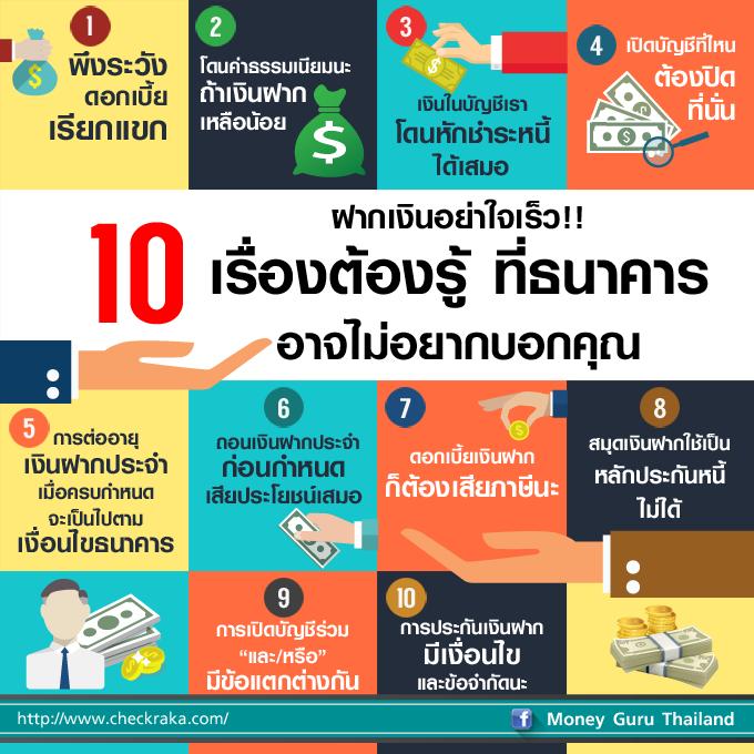 ฝากเงินอย่าใจเร็ว!! 10 เรื่องต้องรู้ที่ธนาคารอาจไม่อยากบอกคุณ